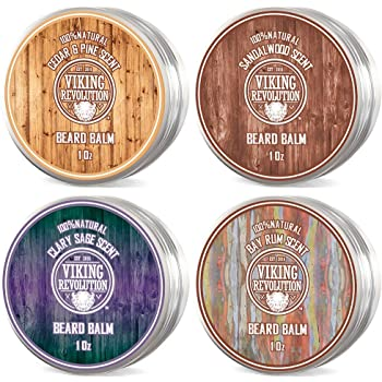 4 Beard Balm Variety Pack (1oz Each)- Sandalwood, Pine & Cedar, Bay Rum, Clary Sage- Styles, Strengthens & Softens Beards & Mustaches - Leave in Conditioner Wax for Men