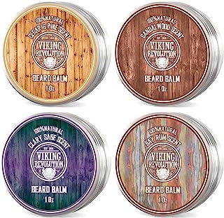 4 Beard Balm Variety Pack (1oz Each)- Sandalwood, Pine & Cedar, Bay Rum, Clary Sage- Styles, Strengthens & Softens Beards ...