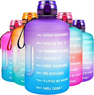 QuiFit Motivational Gallon Water Bottle - with Time Marker & Strainer & Handle Leak-Proof Infuser Water Bottle for Fitness...