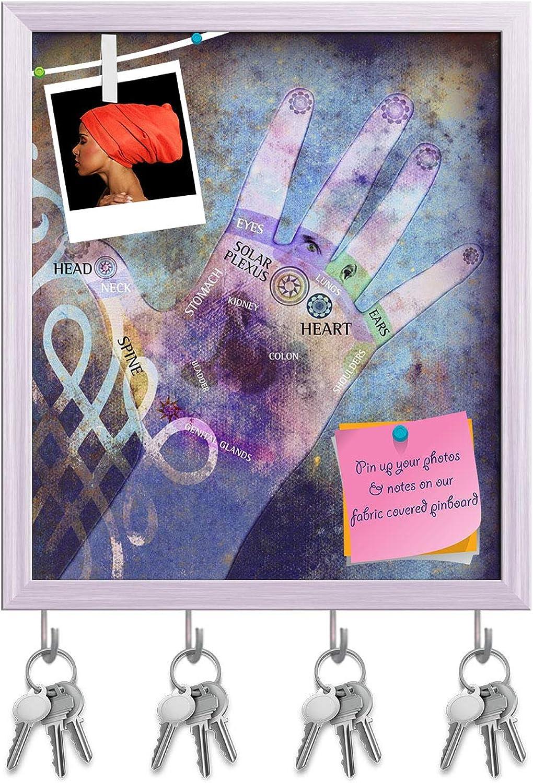 Artzfolio Chakra Hand Key Holder Hooks   Notice Pin Board   White Frame 16 X 18.5Inch