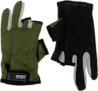 F Fityle Fishing Gloves Absorb Sweat 3 Half-Finger Gloves for Photography,Cycling