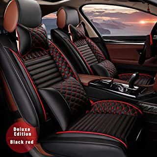 for Skoda Universal 5-Seats Car Seat Covers PU Leather Waterproof Seats Cushion All Season Fit Most Car, Truck, SUV, or Van Front Seat+Rear Seat 9Pcs Luxury Edition Black with Red