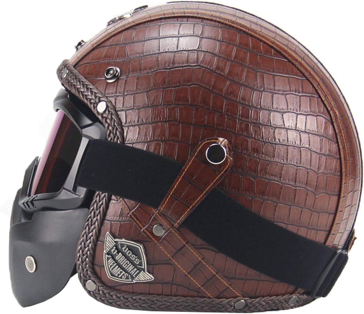 Fang Shan PU Leather Helmet 3//4 Motorcycle Chopper Bicycle Helmet Vintage Motorcycle Helmet and Goggles Mask