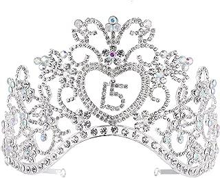 FF Rhinestone Sweet 15 Birthday Tiara Crowns for Girls (Silver)