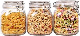 Annfly Lot de 3 bocaux carrés en verre avec joint en caoutchouc et clip en acier inoxydable Transparent 1000 ml