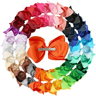 XIMA 25pcs 5inch Grosgrain Boutique Hair Bows with Clip for Children Hair Accessories (with clip mixcolors)