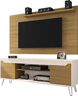 """Manhattan Comfort Baxter Mid-Century Modern TV Stand and Liberty Panel with Media and Display Shelves, 62.99"""", Cinnamon/Off White"""