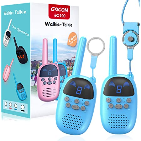 Children Walkie Talkies for 4-12 Year Old Boys Girls, GOCOM Portable Two Way Radios Kids Gift, Long Range Child Walky Talky Toys for Outside, Camping, Hiking (Blue, 2 Pack)