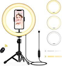 Ring Light, 10'' Selfie Light with Tripod Stand & Phone Holder, Dimmable LED Halo Light for Photography/Makeup/Vlogging/Li...