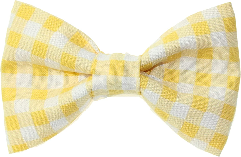 Boys Yellow & White Gingham Clip On Cotton Bow Tie
