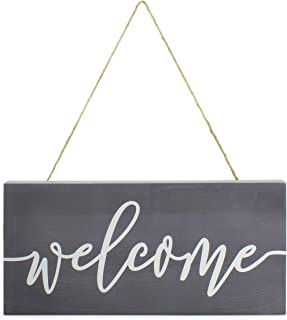 AuldHome Farmhouse Wooden Welcome Sign, Gray and White Rustic Style Wood Hanging Plaque,..