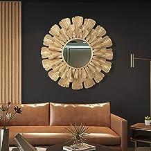 Decorative Wall Mirror, Light Luxury Gold Sunflower Wall Mirror Large Round Wall Hanging Mirror for Hallway Bedroom Living...