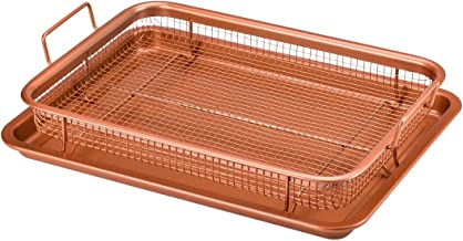 Copper Chef Crisper Tray – Non Stick Cookie Sheet Tray And Air Fry Mesh Basket Set,..