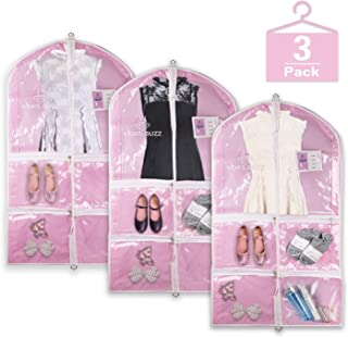 Pink Clear Garment Bag with Pockets Set, Visible Dance Costume Bags 38