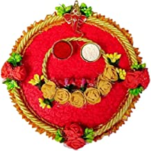 Karwa Chauth/Karva Chauth & Diwali Decorative Puja Thali/Platter with Lord Ganesha and roli Rice for Hindu Temple Rituals,...