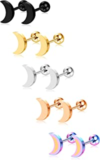 5-6 Pairs Stainless Steel Heart Stud Earrings Barbell Piercing Studs for Women Men