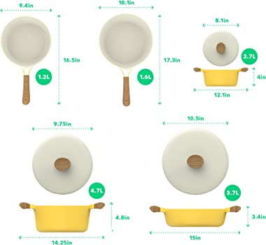 Vremi 8 Piece Ceramic Nonstick Cookware Set Induction Stovetop Compatible Dishwasher Safe Non Stick Pots and Frying Pans with