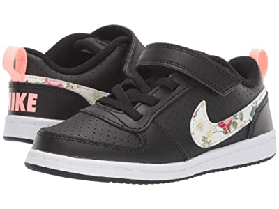 Nike Kids Court Borough Low VF (Infant/Toddler) (Black/Pale Ivory/Pink Tint) Girls Shoes