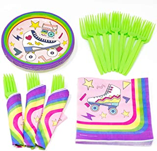 Roller Skating Party Supplies (58+ Pieces for 16 Guests), Value Party Kit, Retro Party Plates, Birthday Decorations, Napkins, Cups, Forks, Tableware