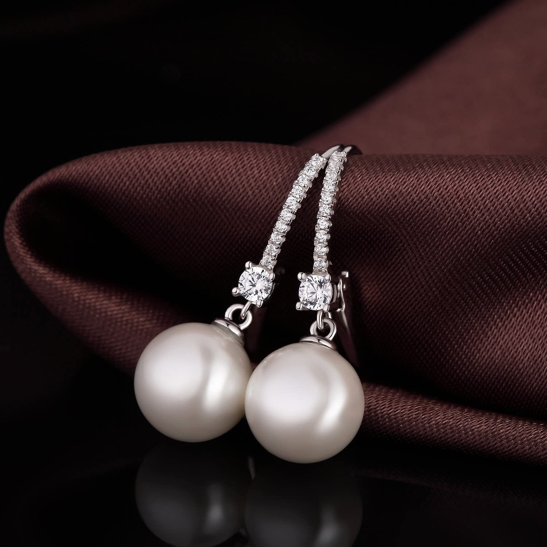 Gift for Women Come with Gift Box Han han Dangle Pearl Earrings for Women 925 Sterling Silver Pearl Drop Earrings Leverback Earrings With Freshwater Cultured Pearl 8MM-10MM Hypoallergenic Earrings