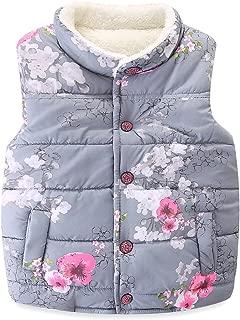 Mud Kingdom Girls' Floral Faux Fur Cute Vests Outerwear