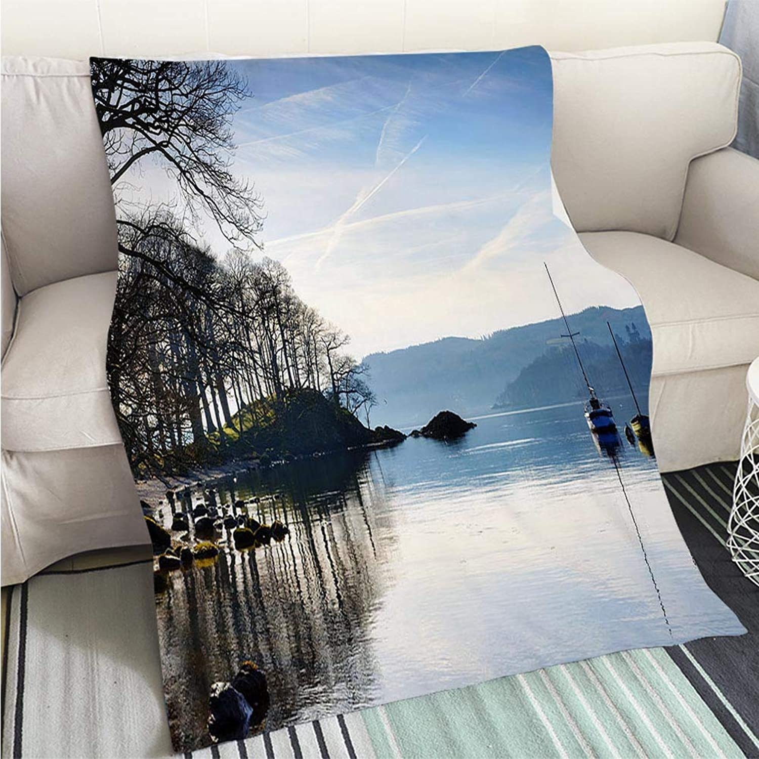 BEICICI Comforter Multicolor Bed or Couch Morning Sunlight on Lake Windermere Fashion Ultra Cozy Flannel Blanket
