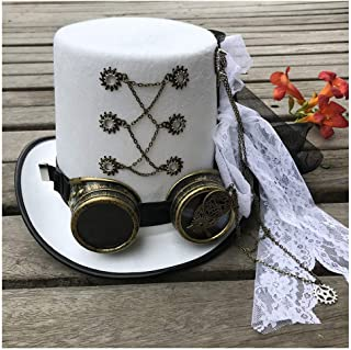SHENTIANWEI Women Vintage White Handmade Steampunk Top Hat with Gear Glasses and Lace Stage Magic Hat Performance Hat Size 57CM