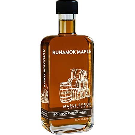 Runamok Maple Bourbon Barrel Aged Maple Syrup - Authentic & Real Vermont Maple Syrup | Natural Sweetener | Great for Cocktails, Cheese Pairing & Pancakes Maple Syrup | 8.45 Fl Oz (250mL)