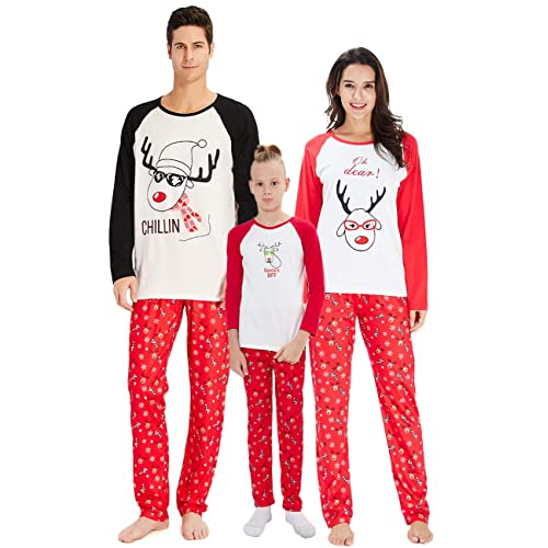 RAISERVEN Family Matching Christmas Loungewear Set Long Sleeve Pajamas  Sleepwear Top Trousers Sets for Family Daddy f50952fca