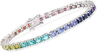 Ross-Simons 6.70-8.40 ct. t.w. Multi-Gemstone and Fire Opal Tennis Bracelet in Sterling Silver