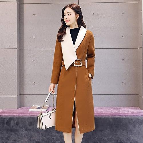 LD la Mode des Femmes d'hiver Slim Plus du Manteau Est Irrégulière Grande Veste en Laine Revers