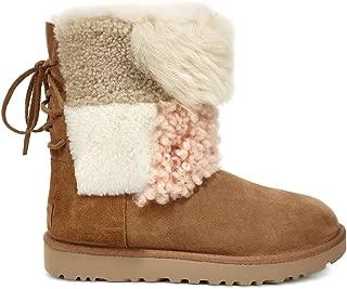 Womens Classic Short Patchwork Fluff Boot