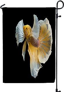 HerysTa Welcone Garden Flag, Decorative Yard Farmhouse Holiday Banner 12 x 18 inches Siamese Fighting Fish Biting Thai Popular Aquarium Big Ears Dumbo Golden Yellow Double-Sided Seasonal Garden Flags