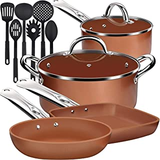 Lightning Deal Ceramic Non-stick Induction Cookware Set, Cooking Pots and Pans Set, Dishwasher Safe, Oven Safe, Cool Handle Kitchen Ware, PFOA Free, Orange, Back to School 12 Pieces