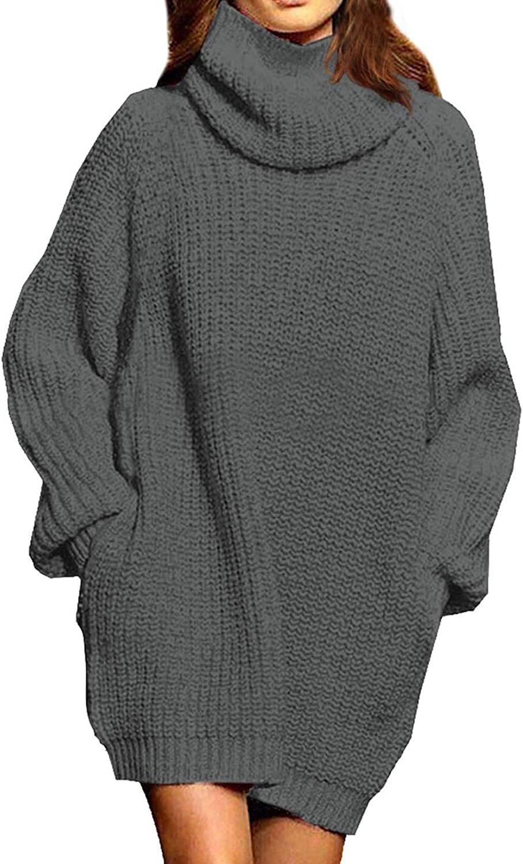 Selowin Women's Loose Turtleneck Long Sleeve Pullover Sweater Knit Dress with Pockets