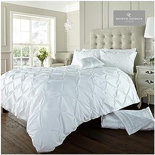 Gaveno Cavailia Pintuck Style Super King Duvet Set Alford White, Elegant Bedding, 3 Piece Cotton Blend Reversible Bedline...