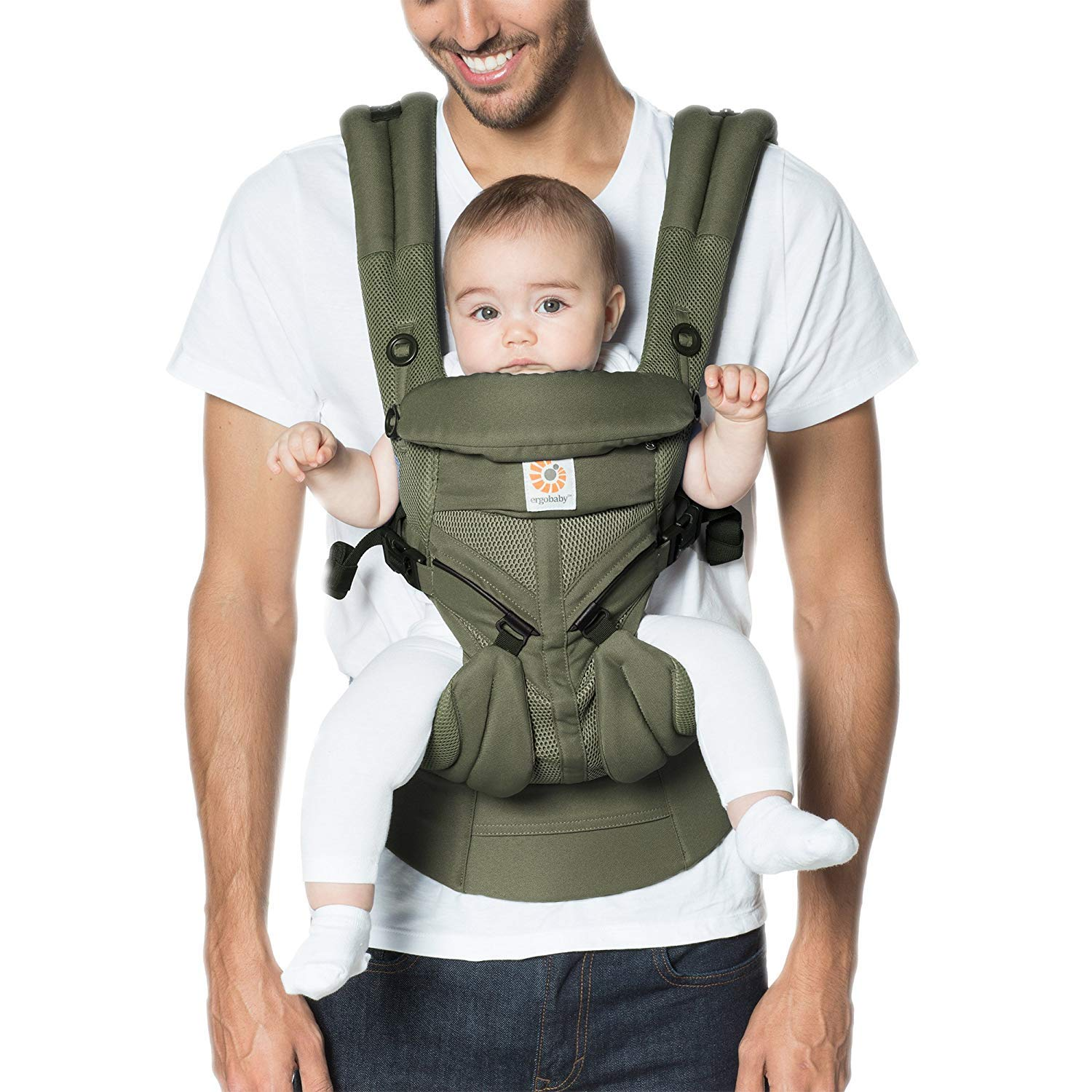 Ergobaby Omni 360 All-Position Baby Carrier for Newborn to Toddler with Lumbar Support & Cool Air Mesh (7-45 Lb), Khaki Green