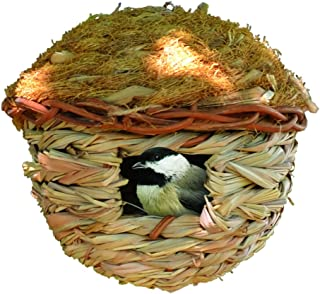 Songbird Essentials Hanging Birdhouse Roosting Pocket. Reed Grass and Cedar Roof. Winter Bird Refuge