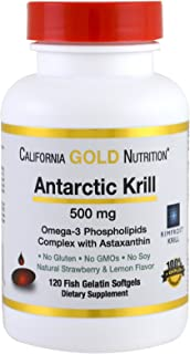 California Gold Nutrition, Antarctic Krill Oil w/Astaxanthin, RIMFROST Krill, Natural Strawberry & Lemon Flavor, 500mg, 12...