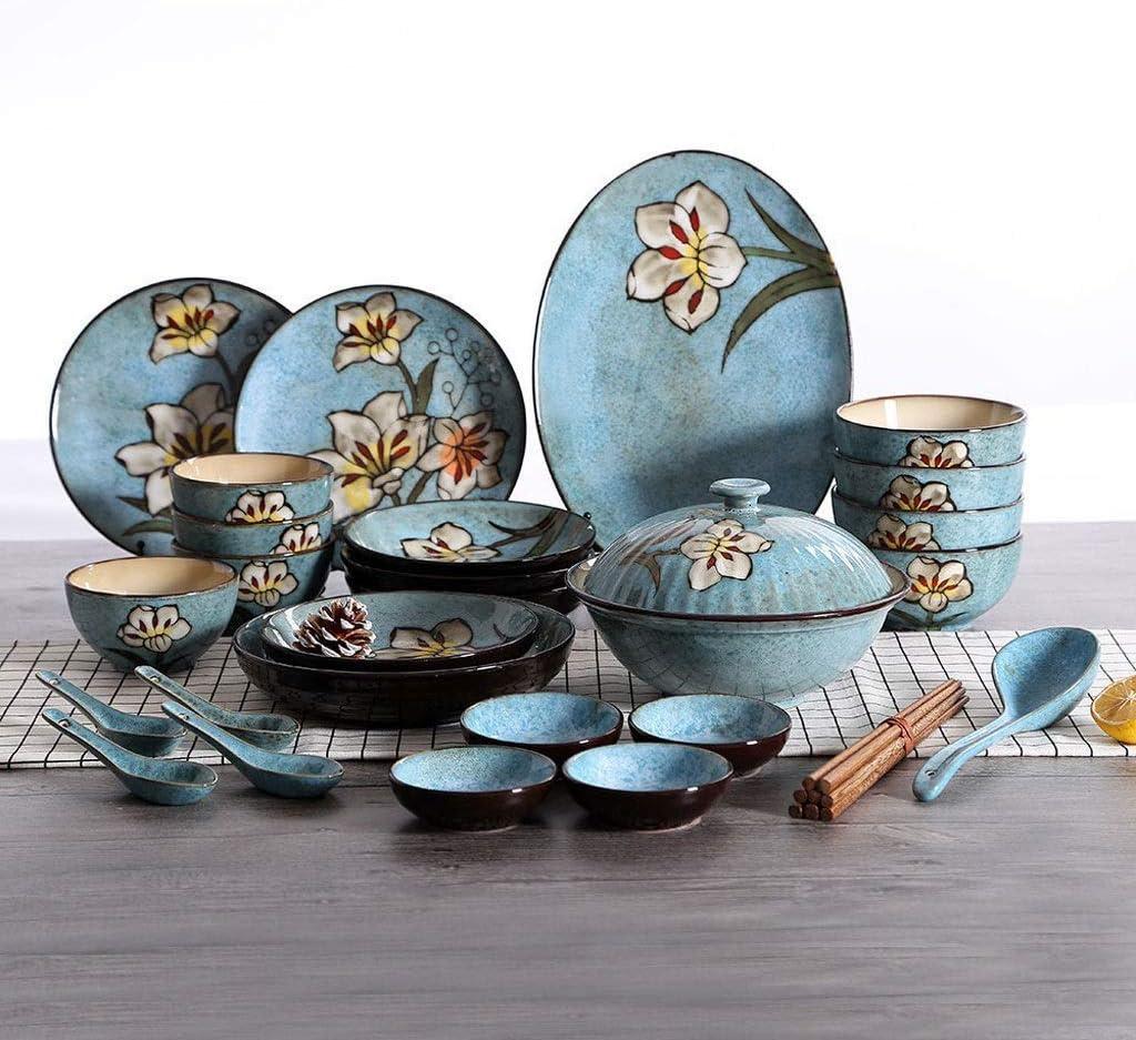 Family essentialsCeramic New life Tableware Set Salad Dinner Bowl Branded goods Plate F
