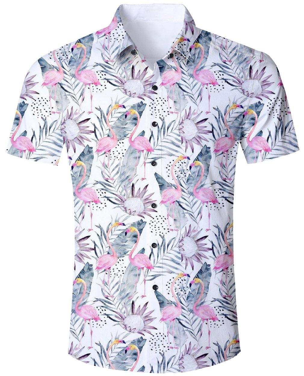 flamingo shirt amazon co ukgoodstoworld mens casual shirts funky 3d printed short sleeve colourful hawaiian shirts s xl