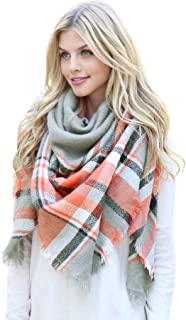 Women's Shawl Wrap Warm Scarf - Cozy Oblong/Plaid Blanket/Stripe Light Circle Infinity