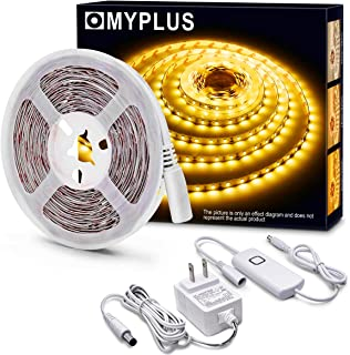 MYPLUS LED Strips Light, Dimmable Under Cabinet Lighting 1050LM, High Brightness Warm White 3000K, 16.4ft Tape Lights with UL Listed Safety Power Supply for Room,Kitchen and décor