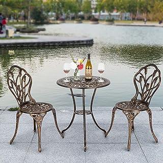 Sponsored Ad - Bonnlo 3 Piece Bistro Set Cast Tulip Design Antique Outdoor Patio Furniture Weather Resistant Garden Alumin...