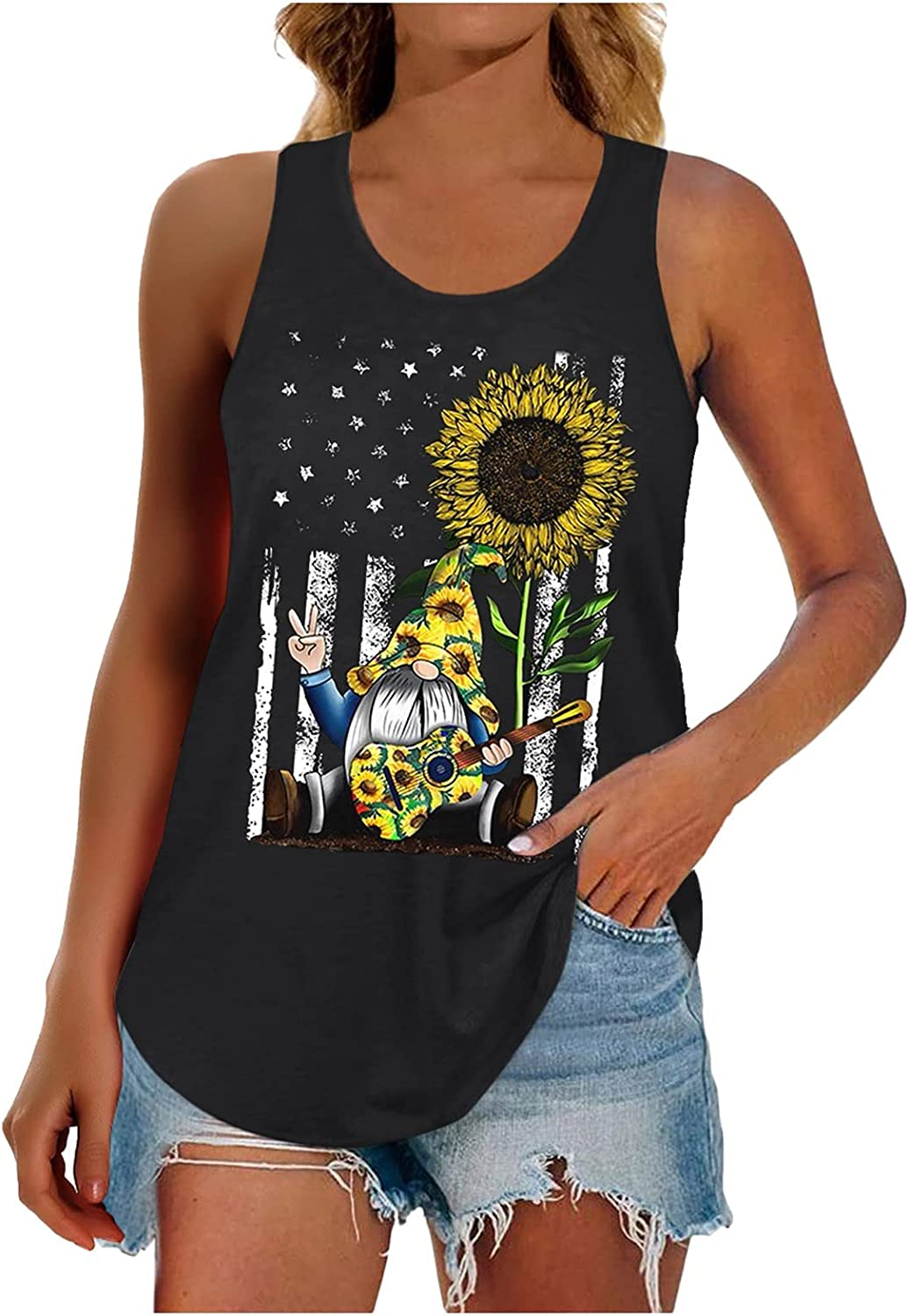 Euone_Clothes Blouses for Women Fashion, Women's Casual Sunflower Independence Day Print Sleeveless Vest Top