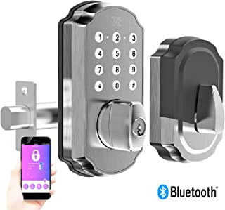 TURBOLOCK TL115 Smart Lock with Keypad and Voice Prompts | Digital Deadbolt w/App for Unlimited eKeys | Code Disguise, Backup Keys + Micro-USB Port — Ready for Thicker Doors (IP65) (Silver)