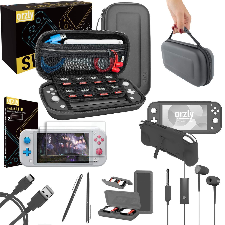 Orzly Paquete de Accesorios para Nintendo Switch Lite – Incluye: Protectores de Pantalla & Funda para Switch Lite Consola, Funda Comfort Grip, Cable USB, Auriculares y más. (Gris): Amazon.es: Electrónica