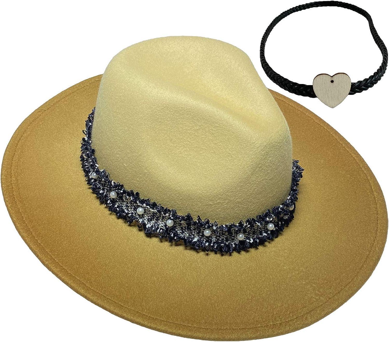 Jixin4you Womens Classic Wool/Velvet Fedora Panama Hat with 2pcs Adjustable Bands - Wide Brim
