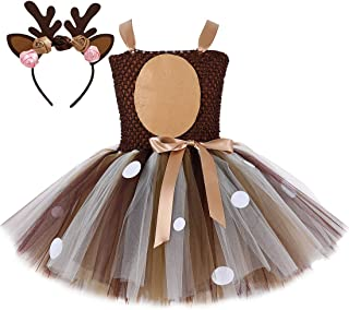 Brown Lion Deer Tutu Dress for Girls Birthday Party Animal Costume with Headband Outfit Tulle 2T 3T 4T 5T 6T 7T 8T