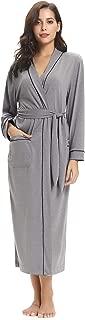 Aibrou Women's Cotton Knit Long Kimono Robe Spa Bathrobe Soft Sleepwear